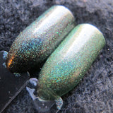 Limited Edition! I Can Kill You With My Brain Nail Polish - holographic green microglitter - Fanchromatic Nails