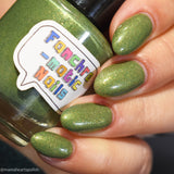 Life Like the Seasons Nail Polish - fern green creme with gold iridescent flakes - Fanchromatic Nails