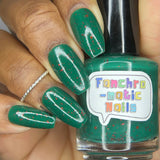 We Dance Until We Fall Nail Polish - teal crelly with scattered red glitter - Fanchromatic Nails