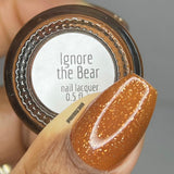Ignore The Bear Nail Polish - umber-toned brown with pure silver flakes - Fanchromatic Nails