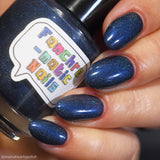 Reborn In The Great Cycle Nail Polish - deep cobalt blue scattered holo - Fanchromatic Nails