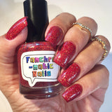 Clearance: Godric Nail Polish - red/gold glitter, Gryffindor House colors - Fanchromatic Nails