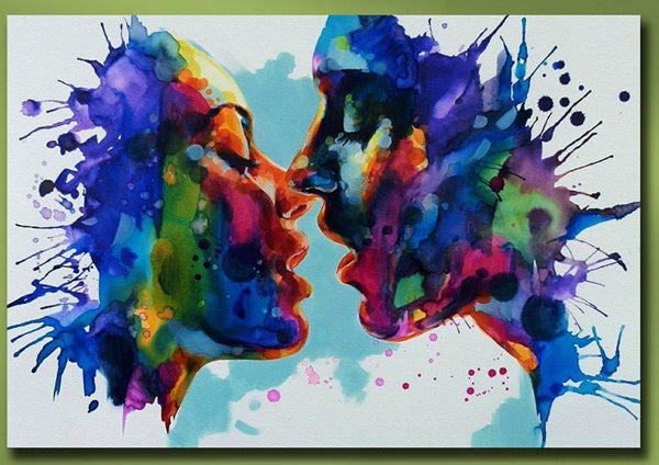 """Watercolor Kiss"" Diamond Painting - Full"