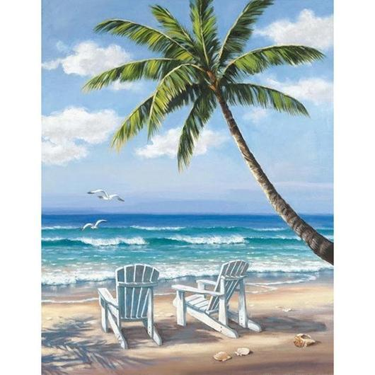 """Beach & Palm Trees"" Diamond Painting - Full"