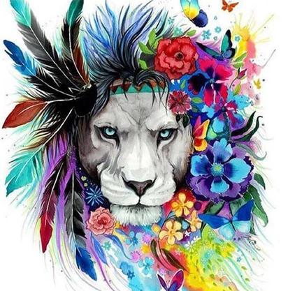 """Colourful lion with Flowers"" Diamond Painting - Full"