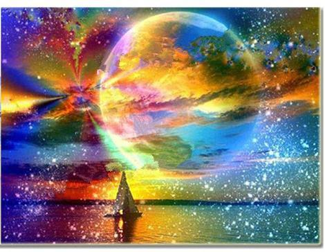 """Colorful moon"" Diamond Painting - Full"
