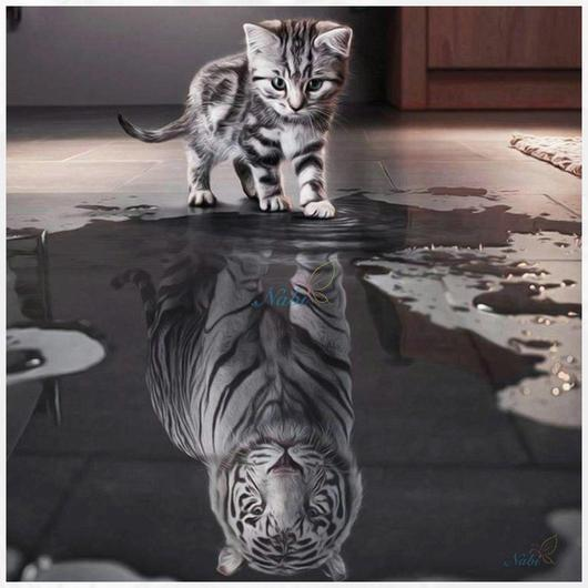 """Kitten and Tiger Reflection"" Diamond Painting - Full"