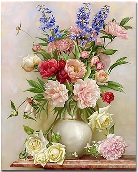 """Flowers In Vase"" Diamond Painting - Full"
