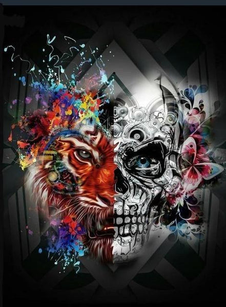 """Lion / Skull"" Diamond Painting - Full"