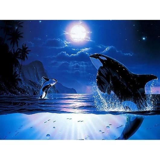 """Breaching Orcas"" Diamond Painting - Full"