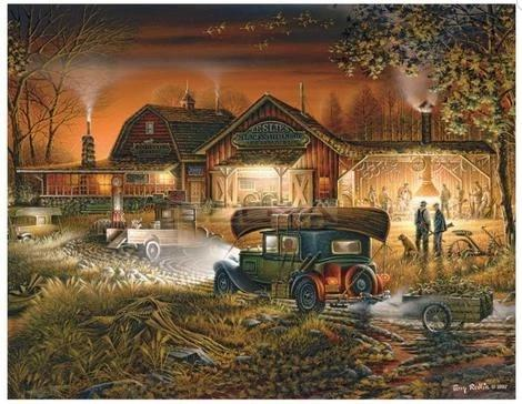 """Farm House at Dusk"" Diamond Painting - Full"