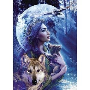 """Wolf, Girl and Moon"" Diamond Painting - Full"