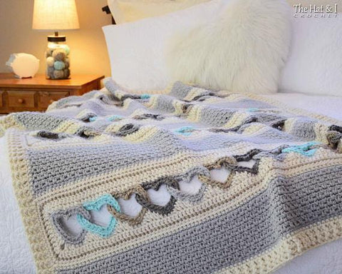 With All My Heart - crochet blanket heart afghan pattern,