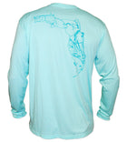 Salinity Gear Performance Fishing Shirt with UPF 50+ Dri-Fit. Seagrass long sleeve shirt with a screen printed design that is the state of Florida created with a collage of fish on back.