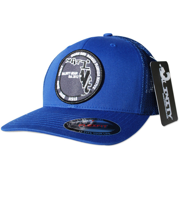 Salinity Gear Florida Native Patch flexfit fitted mesh hat. Blue fitted mesh flexfit hat