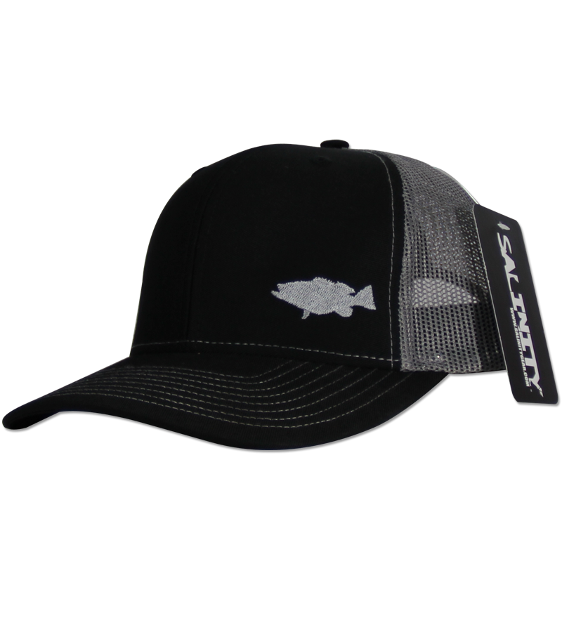 Salinity Gear Grouper Mesh Snap Back black and grey. Snapback mesh back Richardson trucker hat with embroidered grouper.
