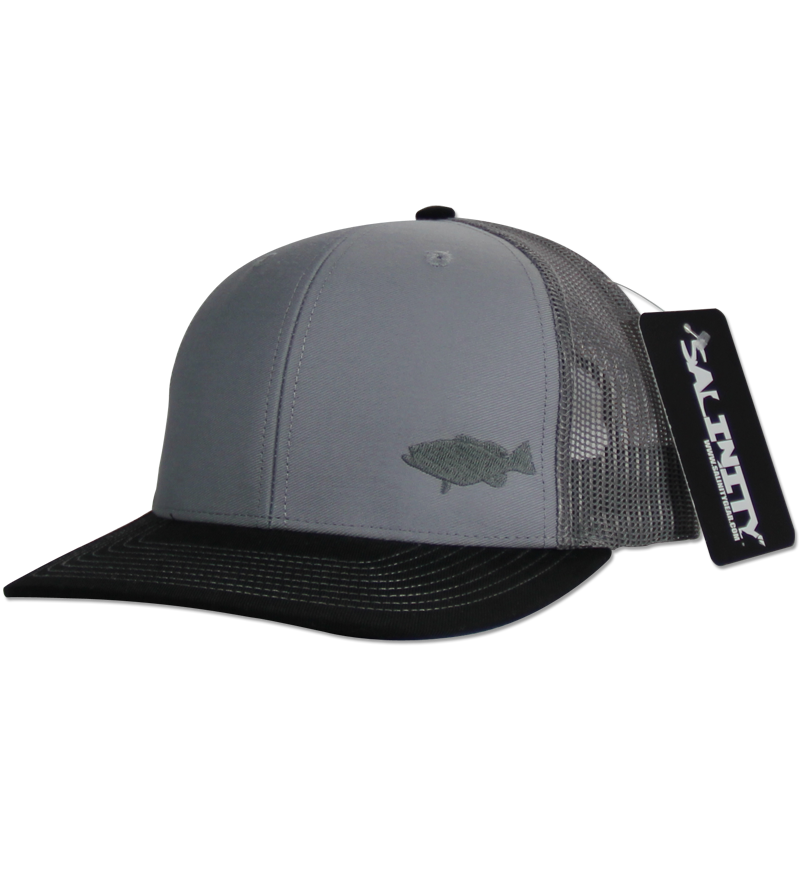 Salinity Gear Grouper Mesh Snap Back grey and black. Snapback mesh back Richardson trucker hat with embroidered grouper.