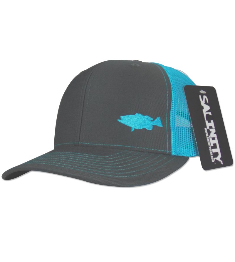 Salinity Gear Grouper Mesh Snap Back charcoal grey and neon blue. Snapback mesh back Richardson trucker hat with embroidered grouper.