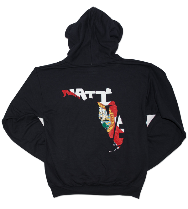 Salinity Gear Florida Native Flag hoodie. Black pull over hoodie with screen printed full color Florida Native Flag design on the back and a white Salinity Gear logo on the front.