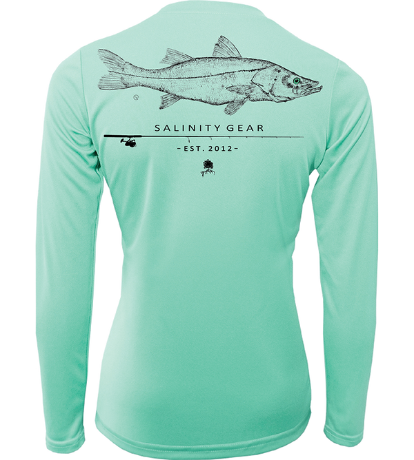 Ladies Performance Snook Gyotaku L/S - Seafoam