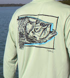 Salinity Gear performance SPF 50 sun protection dri-fit long sleeve fishing shirt. Sage green shirt with screen printed tarpon bay design created by a local artist. The front of the shirt has a pass crab design.