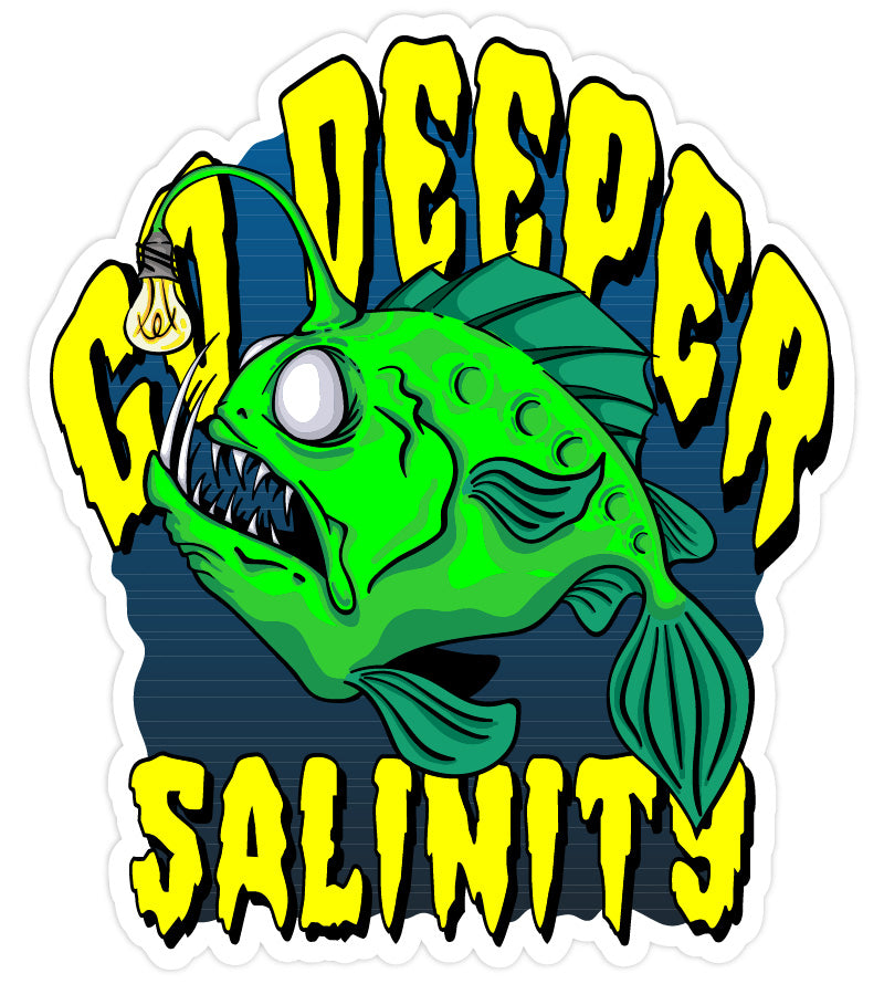 Salinity Gear Go Deeper Anglerfish die cut sticker with UV coating