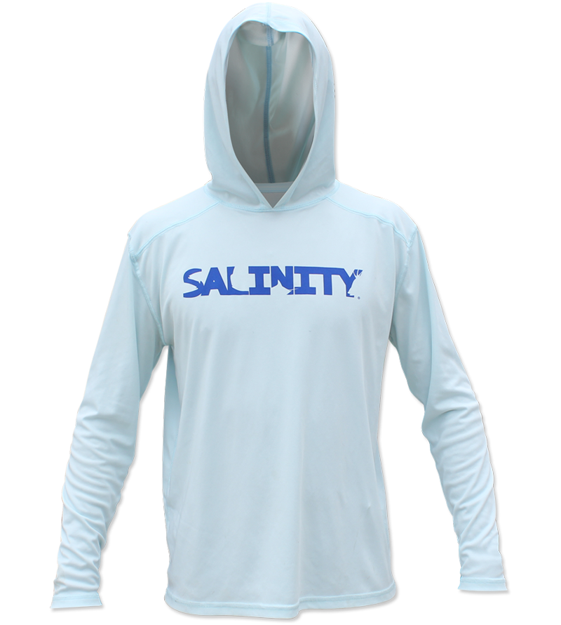 Salinity Gear Performance Fishing Hoodie - UPF 50+ Dri-Fit Shirt. Long sleeve light blue hoody with screen printed Salinity logo on chest