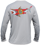 Salinity Gear performance SPF 50 sun protection dri-fit long sleeve fishing shirt. Grey shirt with screen printed Florida native bull shark design on back. Black Salinity Gear logo on front.