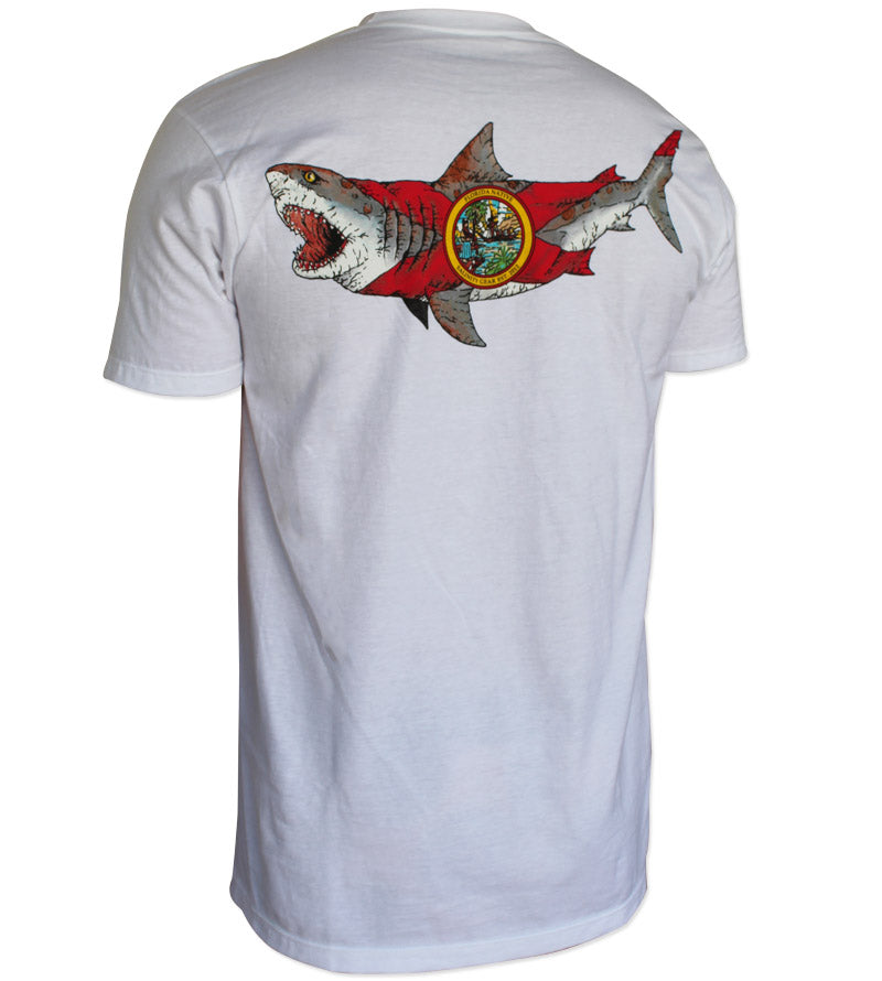 Salinity Gear Florida Native Bull Shark short sleeve fishing shirt. White cotton t-shirt with screen printed design.