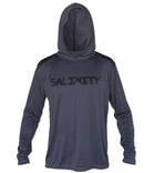 Salinity Gear Performance Fishing Hoodie - UPF 50+ Dri-Fit Shirt. Long sleeve carbon grey hoody with screen printed Salinity logo on chest