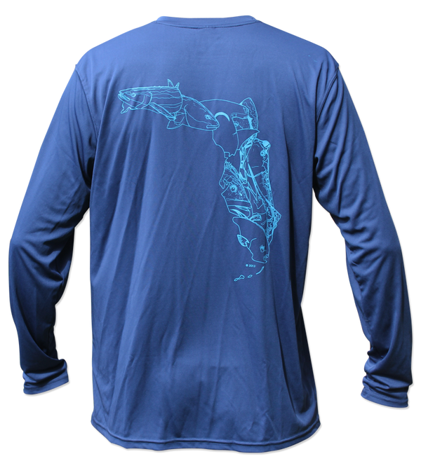 Salinity Gear Performance Fishing Shirt with UPF 50+ Dri-Fit. Navy blue long sleeve shirt with a screen printed Fish Florida design that is the state of Florida created with a collage of fish on back.