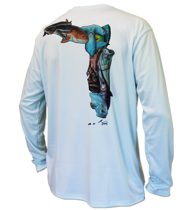 Salinity Gear performance SPF 50 sun protection dri-fit long sleeve youth fishing shirt. Arctic blue shirt with sublimated full color Fish Florida design that is the state of Florida created with a collage of fish on back. The front has the Salinity Gear logo with colorful fish popping out of the design.