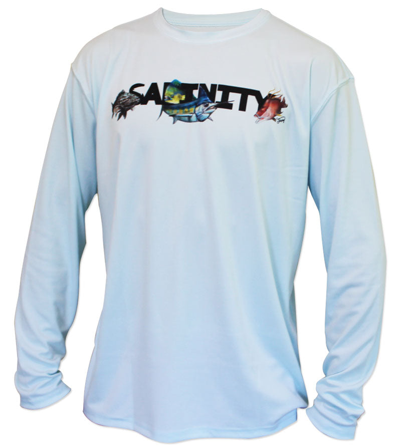 Salinity Gear performance SPF 50 sun protection dri-fit long sleeve youth fishing shirt. Arctic blue shirt with sublimated full color design that is the state of Florida created with a collage of fish on back. The front has the Salinity Gear logo with colorful fish popping out of the design.