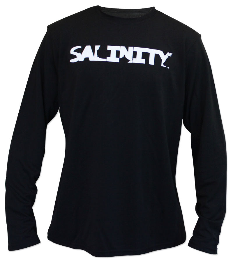 Salinity Gear performance SPF 50 sun protection dri-fit long sleeve fishing shirt. Black shirt with screen printed full color Florida Native design with a custom Florida flag inside of it. The front has a screen printed Salinity Gear logo.