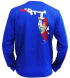 Salinity Gear performance SPF 50 sun protection dri-fit long sleeve fishing shirt. Blue shirt with screen printed full color Florida Native design with a custom Florida flag inside of it. The front has a screen printed Salinity Gear logo.