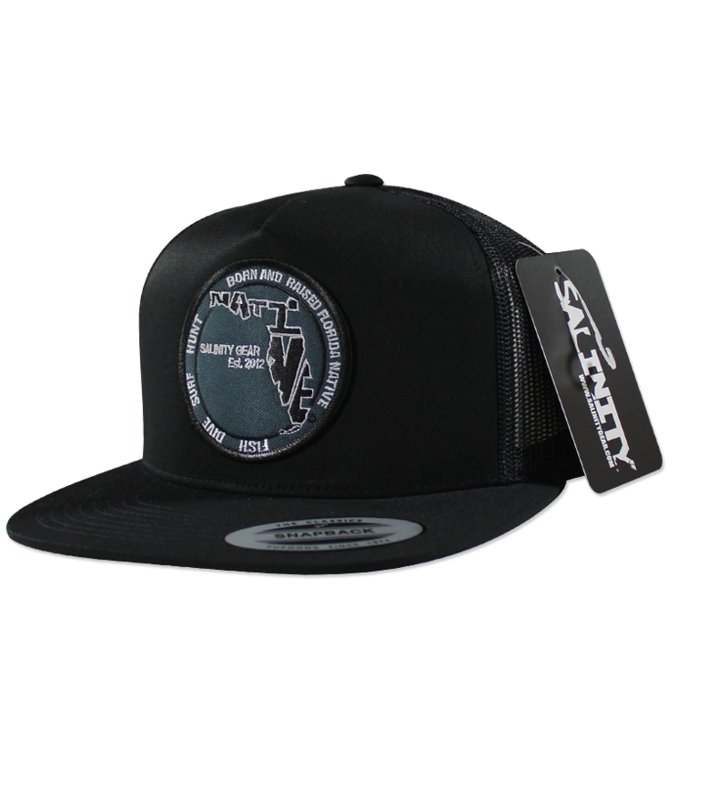 Salinity Gear black Florida Native Patch snapback trucker hat