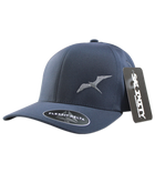 Salinity Gear performance frigate hat. Blue Flexfit delta hat available in s/m and l/xl