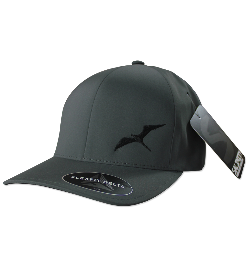 Salinity Gear performance frigate hat. Grey Flexfit delta hat available in s/m and l/xl