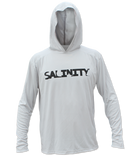 Salinity Gear Performance Fishing Hoodie - UPF 50+ Dri-Fit Shirt. Long sleeve grey hoody with screen printed Salinity logo on chest