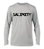 Salinity Gear performance SPF 50 sun protection dri-fit long sleeve fishing shirt. Grey shirt with screen printed ( reel vs steel ) hogfish fish rubbing or gyotaku design with crossed fishing pole and speargun on back. Screen printed distressed Salinity logo on front.