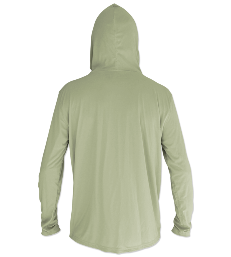 Salinity Gear Performance Fishing Hoodie - UPF 50+ Dri-Fit Shirt. Long sleeve sage green hoody with screen printed Salinity logo on chest