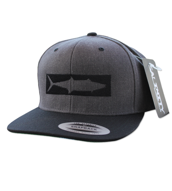 Salinity Gear embroidered Kingfish Flag snapback grey and black hat
