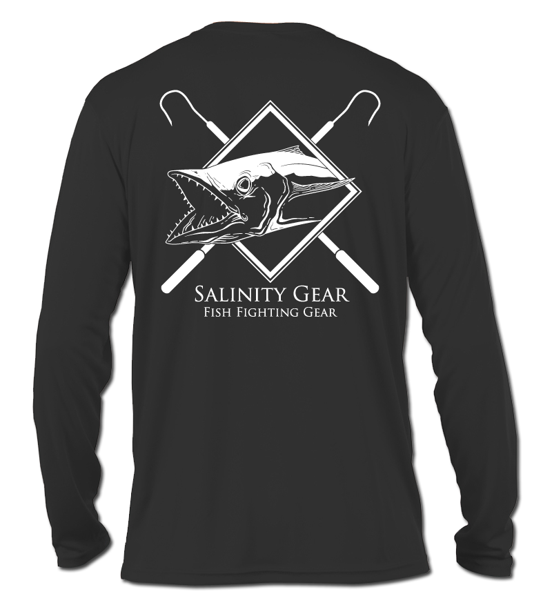 Salinity Gear performance SPF 50 sun protection dri-fit long sleeve fishing shirt. Carbon grey shirt with screen printed kingfish and crossed gaffs design. The front has a screen printed kingfish design.