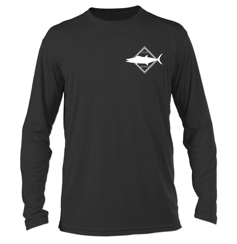 Salinity Gear performance SPF 50 sun protection dri-fit long sleeve fishing shirt. Carbon grey shirt with screen printed kingfish design that crossed gaffs. The front has a screen printed kingfish design.