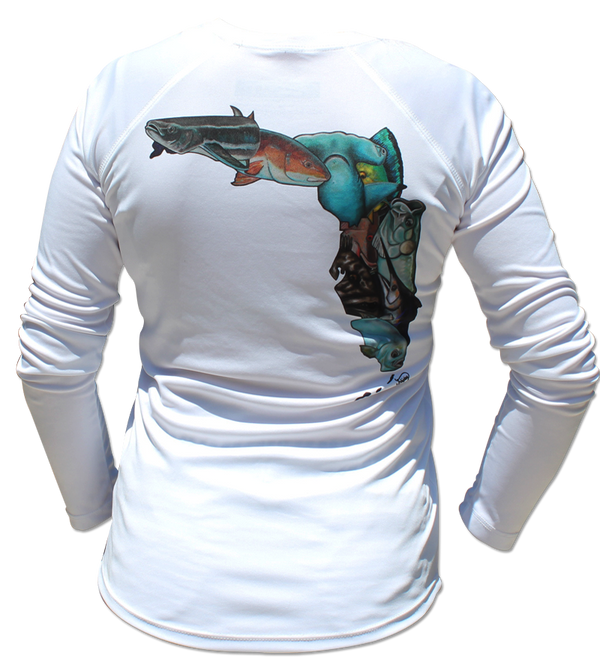 White Salinity Gear performance SPF 50 sun protection dri-fit long sleeve ladies fishing shirt. Sublimated full color Fish Florida design that is the state of Florida created with a collage of fish on back. The front has the Salinity Gear logo with colorful fish popping out of the design.