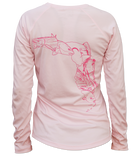 Salinity Gear Ladies Performance Fishing Shirt with UPF 50+ Dri-Fit. Pink long sleeve fish florida shirt with a screen printed design that is the state of Florida created with a collage of fish on back.
