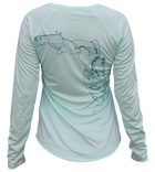 Salinity Gear Ladies Performance Fishing Shirt with UPF 50+ Dri-Fit. Seafoam long sleeve fish florida shirt with a screen printed design that is the state of Florida created with a collage of fish on back.