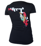 Salinity Gear Florida Native Flag ladies short sleeve v-neck shirt. Black ring spun cotton v-neck t-shirt with screen printed full color Florida Native Flag design on the back and a white Salinity Gear logo on the front.