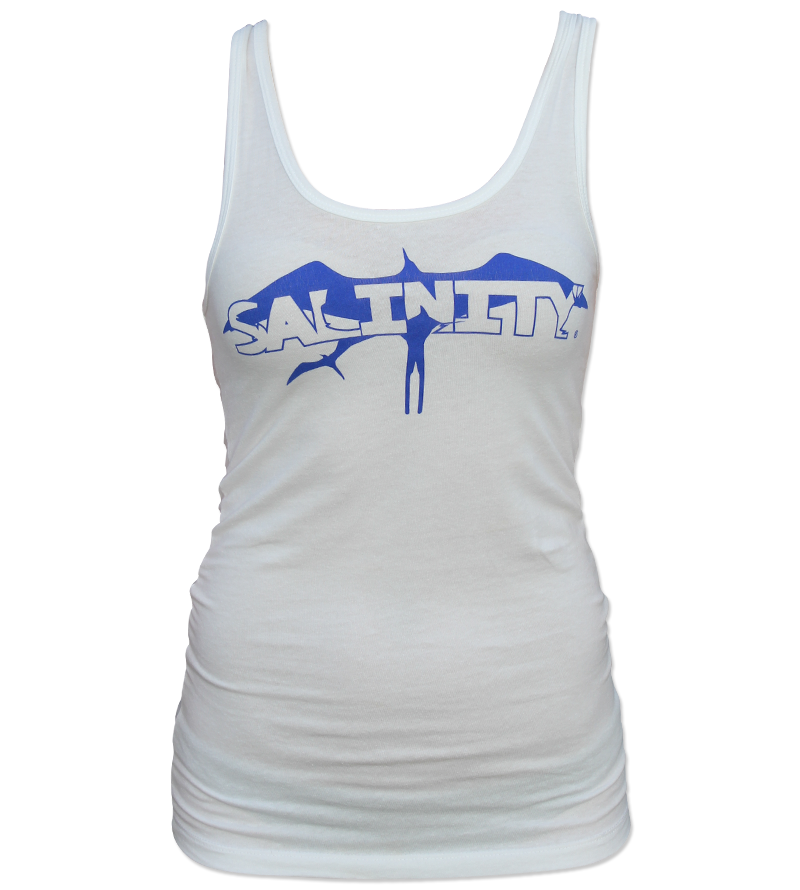 Salinity Gear Ladies tank top, white shirt with blue frigate bird design