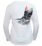 Salinity Gear performance ladies SPF 50 sun protection dri-fit long sleeve v-neck fishing shirt. White shirt with screen printed rasta sailfish fish rubbing ( gyotaku ) design. The left sleeve has a rubbing of a ballyhoo and the front has a Salinity Gear logo.